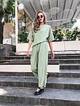 Женский костюм лен свободного кроя: футболка и широкие брюки кюлоты (в расцветках), фото 2