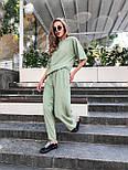 Женский костюм лен свободного кроя: футболка и широкие брюки кюлоты (в расцветках), фото 6