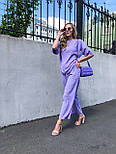 Женский костюм лен свободного кроя: футболка и широкие брюки кюлоты (в расцветках), фото 9