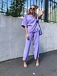 Женский костюм лен свободного кроя: футболка и широкие брюки кюлоты (в расцветках), фото 8