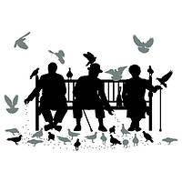Виниловая наклейка Trio on the Bench