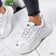 Кроссовки женские белые на платформе в стиле Balenciaga из эко кожи. Кросівки жіночі білі на платформі, фото 2