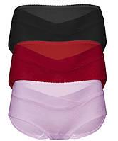0355 Трусы для беременных с  кружевом комплект из 3 штук лавандовые, красные и черные, фото 1