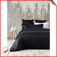 Комплект постельного белья хлопок, Line Вlack SoundSleep сатин жаккард,черный графит, евро размер