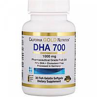 Рыбий жир, ДКГ 700, 1000 мг. 30 капс. / DHA 700 Fish Oil California Gold Nutrition 1000 mg. 30 caps., фото 1
