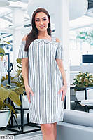 Летнее женское прямое платье в полоску из натурального льна размеры батал 48-54 арт 630