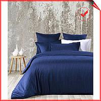 Комплект постельного белья хлопок Line Вlue SoundSleep, сатин страйп,жаккард ,синий, евро размер