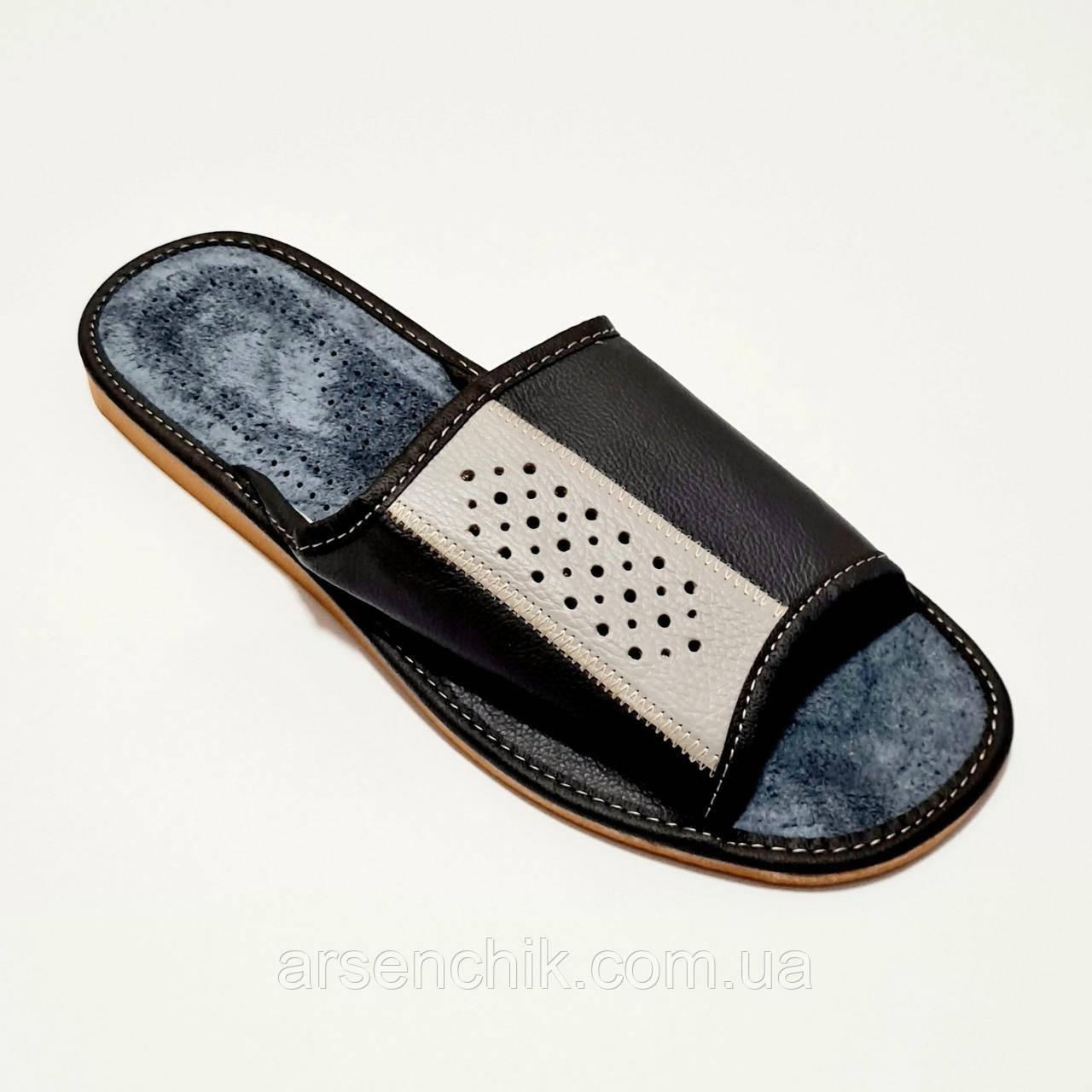 Домашние кожаные мужские тапочки 44