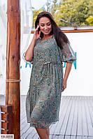 Шифоновое красивое женское платье свободное  на подкладке больших размеров 50-56 арт 656
