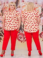 Нарядний костюм з брюками великих розмірів (3 кольори) НС/-505 - Червоний, персик