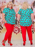 Нарядний костюм з брюками великих розмірів (3 кольори) НС/-505 - Червоний/ментол