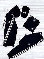 Спортивный костюм Adidas мужской осенний весенний демисезонный черный | с капюшоном (Адидас)
