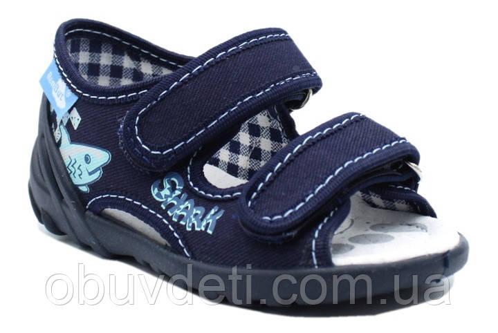 Сині босоніжки на липучках 23 (15 см) з шкіряними устілками Renbut
