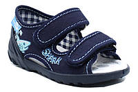 Сині босоніжки на липучках 23 (15 см) з шкіряними устілками Renbut, фото 1