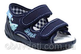 Синие босоножки на липучках  23 (15 см) с кожаными стельками Renbut