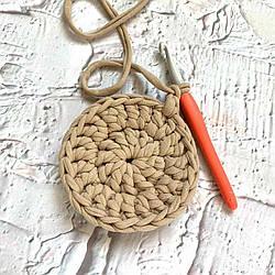 Идеальный круг столбиками с накидом крючком из трикотажной пряжи Бобилон