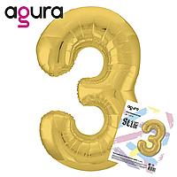 """40"""" Цифра """"3"""" slim (100 см) золото Agura шар фольгированный"""