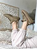 Женские кроссовки Adidas Yeezy Boost 350 в стиле Адидас Изи Буст КОРИЧНЕВЫЕ (Реплика ААА+), фото 3
