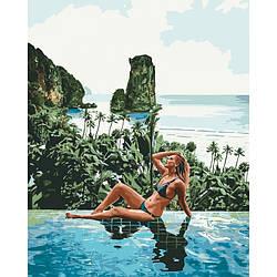Картина по номерам Девушка у моря Отдых души 50х40см Идейка
