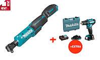 Аккумуляторный угловой гаечный ключ (гайковерт) Makita WR100DZ+аккумуляторный шуруповерт Makita DF333DWAE