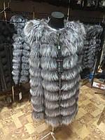 Жилетка з натурального хутра чорнобурки,довжина 90 див., фото 1