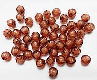 Бусины прозрачная с белым. Арбузик 0,8 см Набор 25 штук. коричневые