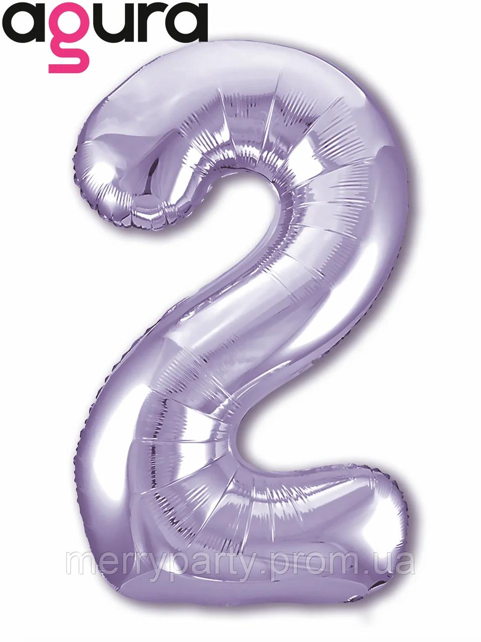 """40"""" Цифра """"2"""" slim (100 см) сиреневый Agura шар фольгированный"""
