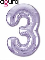 """40"""" Цифра """"3"""" slim (100 см) сиреневый Agura шар фольгированный"""