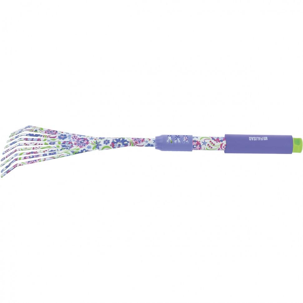 Грабли веерные 9-зубые, 145 х 500 мм, стальные, удлиненная рукоятка, Flower Mint Palisad
