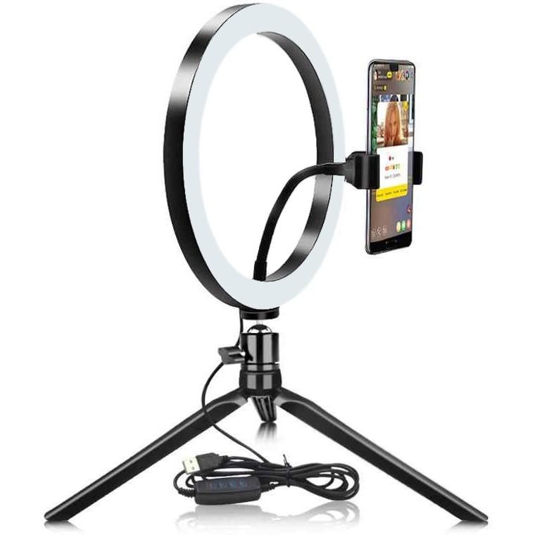 Кольцевая настольная лампа 30 см для блогера на треноге