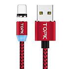 Магнитный кабель для зарядки Topk iPhone 2m 2.1A 360° Красный (TK17i2-VER2-RD), фото 2