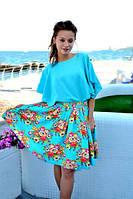 """Расклешенная цветочная юбка """"Орхидея"""" с фатиновым подъюбником (2 цвета)"""