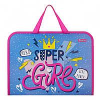 Портфель пластиковый детский на молнии Super Girl 1 Вересня