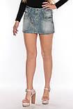 Юбка джинсовая OMAT 1325 синяя, фото 4