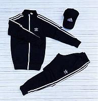 Спортивный костюм Adidas мужской лакоста осенний демисезонный черный | Олимпийка + Штаны Адидас