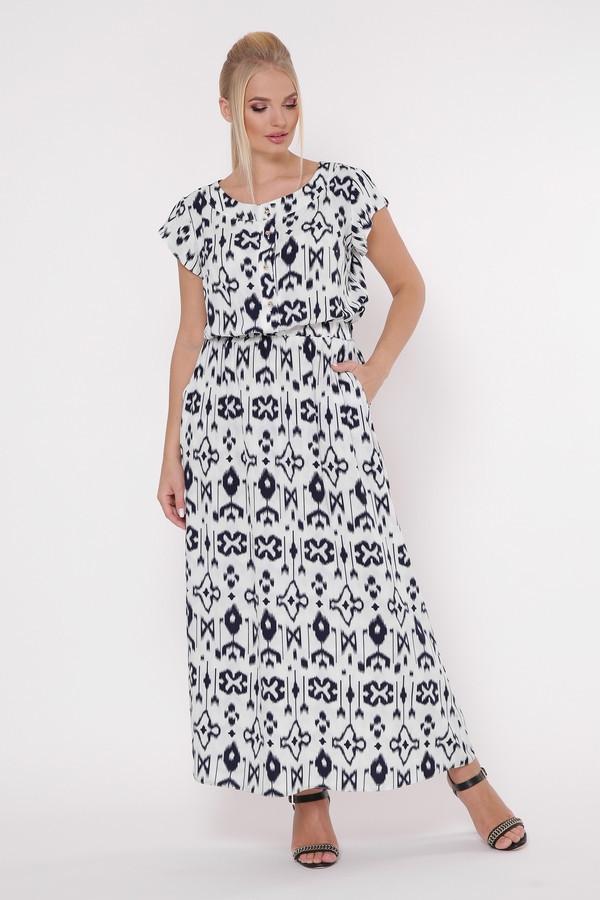 Красивое длинное белое платье с резинкой в талии большого размера, размер 52,54,56,58