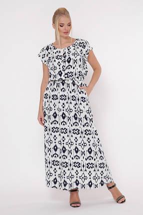 Красивое длинное белое платье с резинкой в талии большого размера, размер 52,54,56,58, фото 2