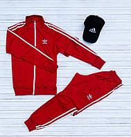 Спортивный костюм Adidas мужской лакоста осенний демисезонный красный | Олимпийка + Штаны Адидас