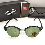 Чоловічі сонцезахисні окуляри Ray Ban Clubround Classic RB 4246 901 лінзи скло RB4246 Брендові Рей Бан копія, фото 7