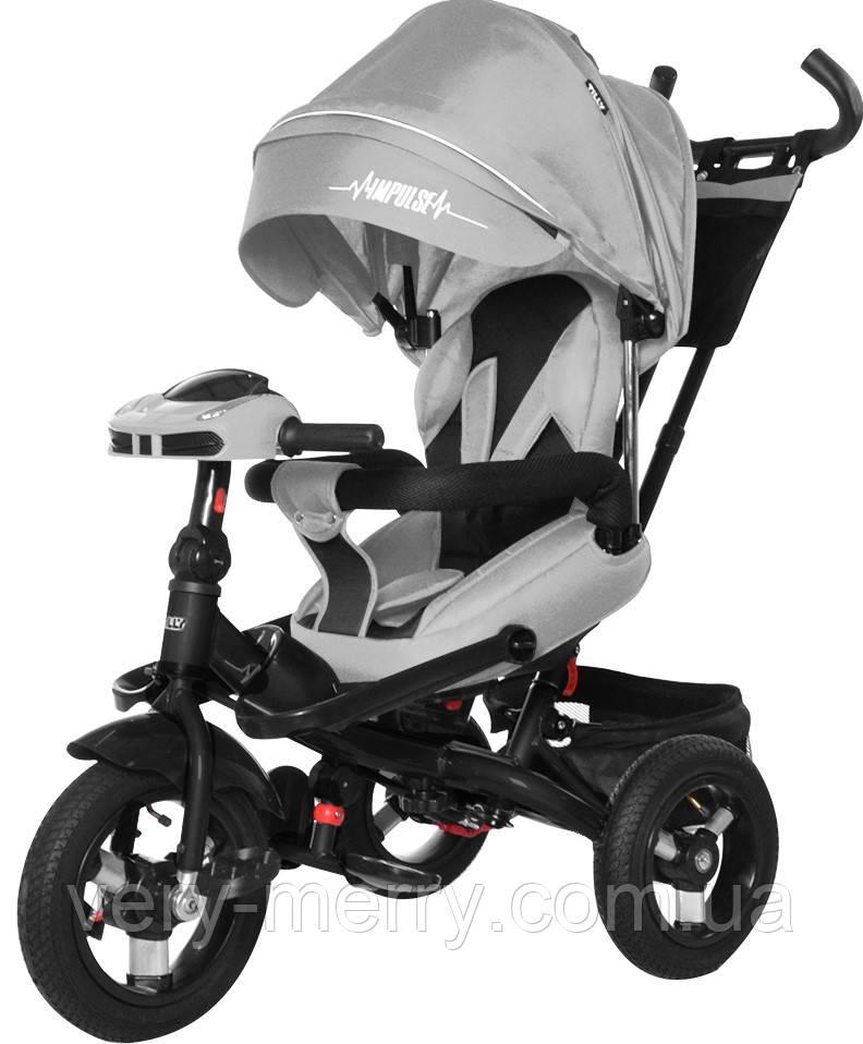 Детский трехколесный велосипед Tilly Impulse T-386 с пультом (серый цвет)