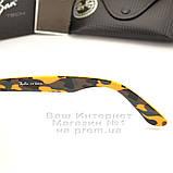 Мужские солнцезащитные очки Ray Ban Wayfarer RB 2140 зеркальные синие Брендовые Вайфареры Рей Бан реплика, фото 5
