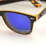 Мужские солнцезащитные очки Ray Ban Wayfarer RB 2140 зеркальные синие Брендовые Вайфареры Рей Бан реплика, фото 3
