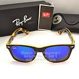 Мужские солнцезащитные очки Ray Ban Wayfarer RB 2140 зеркальные синие Брендовые Вайфареры Рей Бан реплика, фото 6