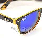 Мужские солнцезащитные очки Ray Ban Wayfarer RB 2140 зеркальные синие Брендовые Вайфареры Рей Бан реплика, фото 2