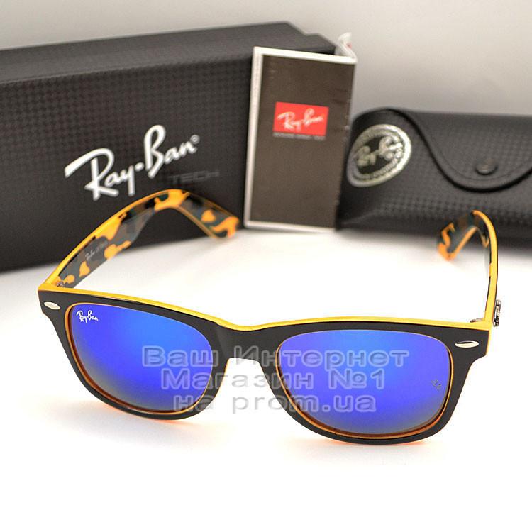 Мужские солнцезащитные очки Ray Ban Wayfarer RB 2140 зеркальные синие Брендовые Вайфареры Рей Бан реплика