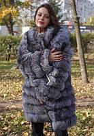 Шуба трансформер з натурального хутра чорнобурки 90 див.