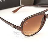 Женские солнцезащитные очки Ray Ban Cats 5000 RB 4125 коричневые Брендовые RB4125 Стильные Рей Бан реплика, фото 2