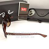 Женские солнцезащитные очки Ray Ban Cats 5000 RB 4125 коричневые Брендовые RB4125 Стильные Рей Бан реплика, фото 3