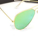 Женские солнцезащитные очки Ray Ban Aviator RB 3026 Авиаторы зеркальные зеленые линзы Рей Бан 3025 реплика, фото 2