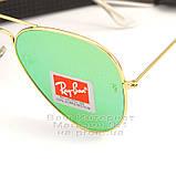 Женские солнцезащитные очки Ray Ban Aviator RB 3026 Авиаторы зеркальные зеленые линзы Рей Бан 3025 реплика, фото 3